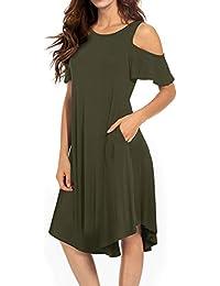 Women's Cold Shoulder Midi Dress Short Sleeve Swing Dress with Pockets
