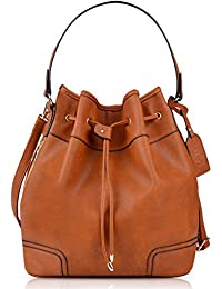 Coofit Drawstring Bucket Bag Leather Bucket Crossbody Bag Originally Design Shoulder Bag for women