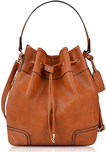 Leather Drawstring Purse - Coofit Drawstring Handbag Bucket Bag Leather bucket bag Bag Original Design Shoulder Bag Handbag for women