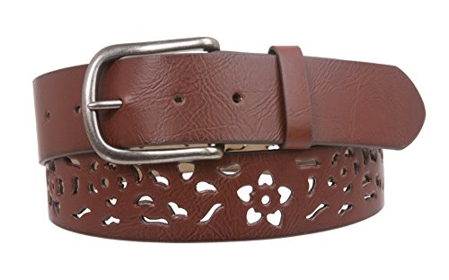 Perforated Floral Belt (Women's Snap on Perforated Floral Laser Cut Leather Belt Size: M/L - 36 Color:)