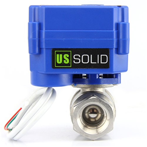 """Motorized Ball Valve- 1/2"""" Stainless Steel Ball Valve with Full Port, 9-24V AC/DC and 2 Wire Auto Return Setup by U.S. Solid"""