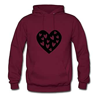 X-large Women Heart With Hearts Different Custom Burgundy Cotton Sweatshirts