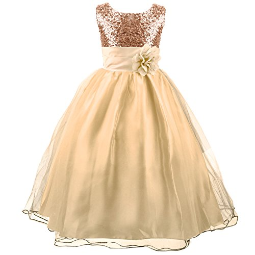 Acecharming Little Girls' Sequin Mesh Flower Ball Gown Party Wedding Tulle Ruffle Dress, Suitable for9-10 Years(Golden) (Girl Dresses Size Flower Plus)