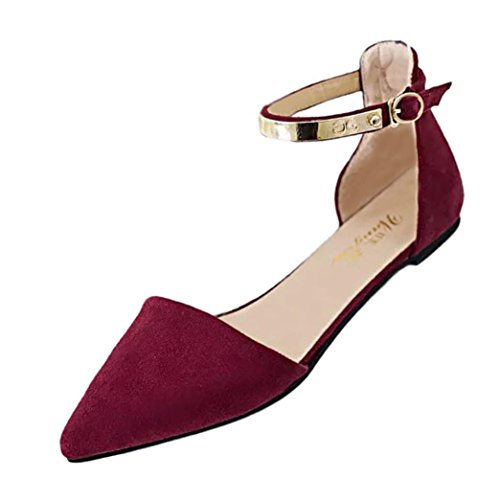 Woman Low Heels - Matte Leather Pointed Shallow Mouth Flat Buckle Solid Color Flat Shoes Red JXrtfL