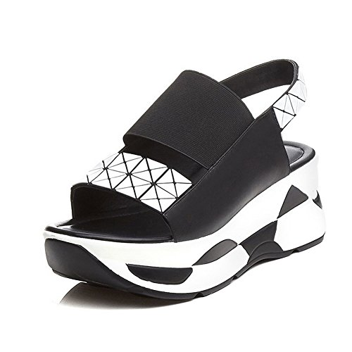 AmoonyFashion Womens Kitten-Heels Soft Material Assorted Color Elastic Open-Toe Sandals Black gbm2dXWjh
