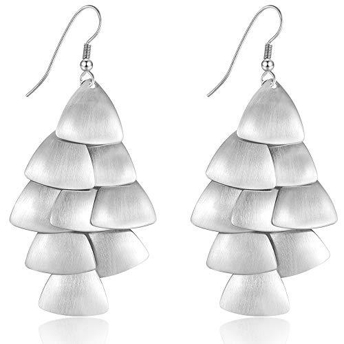 (XZP Chandelier Dangle Earrings for Women Flakes Tiered Triangle Silver Plated Drop Earrings)