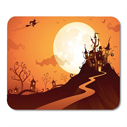 Emvency Mouse Pads Fantasy Orange House Halloween Castle Witch Fun Vampire Backlit Mouse Pad for notebooks, Desktop Computers mats 9.5