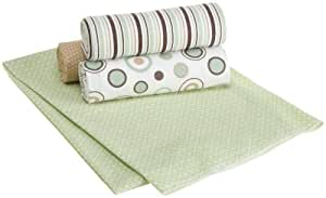 Carters Wrap Me Up Receiving Blanket, Brown/Sage Circles, 4 Pack (Discontinued by Manufacturer)