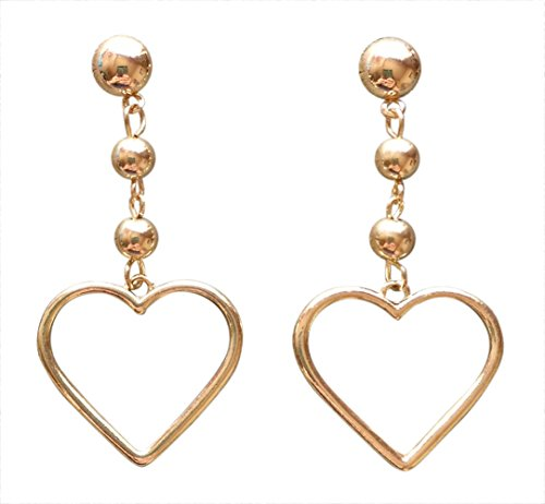 Trendy Statement Big Gold Heart Earrings Valentines Day Gift