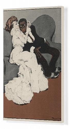 Canvas artwork of black man white woman