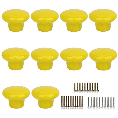 - Marstree 10pcs Vintage Ceramic Door Knobs Round Shape Drawer Cupboard Locker Pulls Handles Wardrobe Drawer Cabinet Home Kitchen Hardware (Yellow)