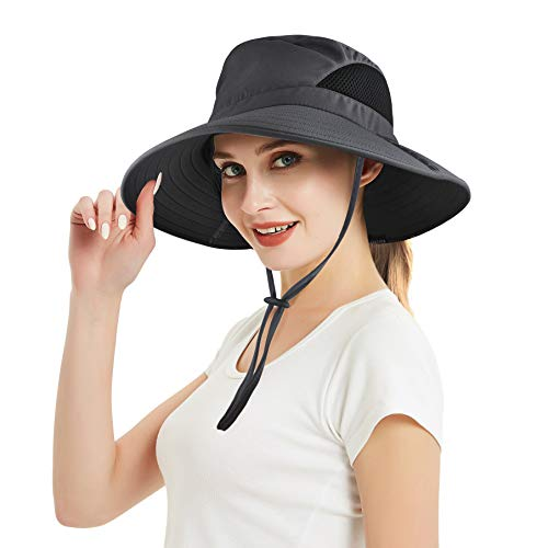 (EINSKEY Women's Wide Brim Sun Hat, Outdoor Sun Protection Visor Floppy Hat Packable Boonie Hat for Safari Fishing Beach Golf Light Gray)