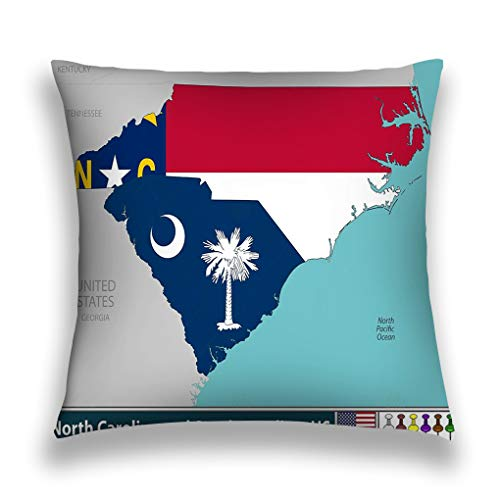wuhandeshanbao Throw Pillow Cover Pillowcase North Carolina South United States East Coast Region Their Flags Inside Borders Sofa Home Decorative Cushion Case 18