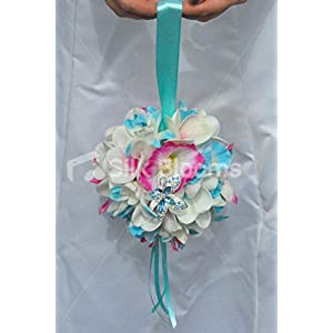 Tropical Fresh Touch Frangipani Pomander with Blue Dendrobium Orchids and Pink and Blue Hibiscus
