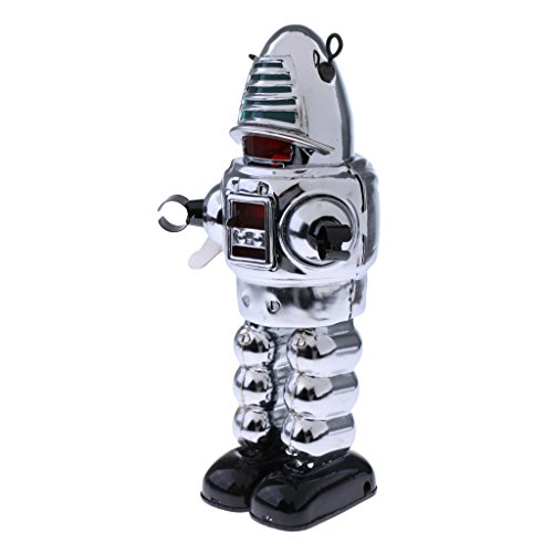 MagiDeal Classic Wind Up Walking Silver Planet Robot Tin Toy Mechanical Clockwork Home Office Decoration Display Gift ()