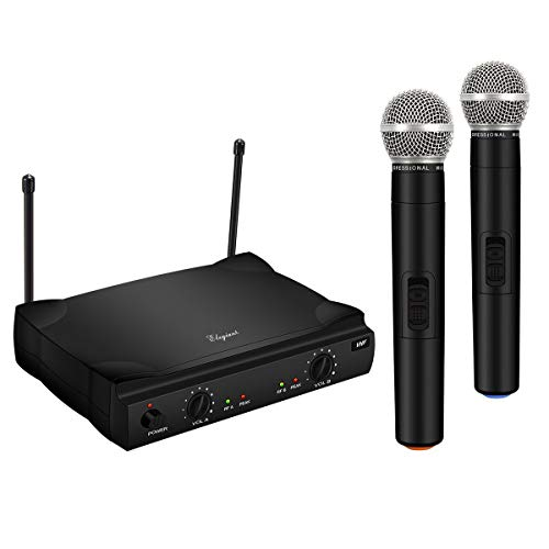 VHF Wireless Microphone System, Dual Channel Handheld Wireless Microphone with Professional Karaoke Receiver and 2 Handheld Dynamic Mics Set, for Home Party, KTV, Business Meeting, Wedding, -