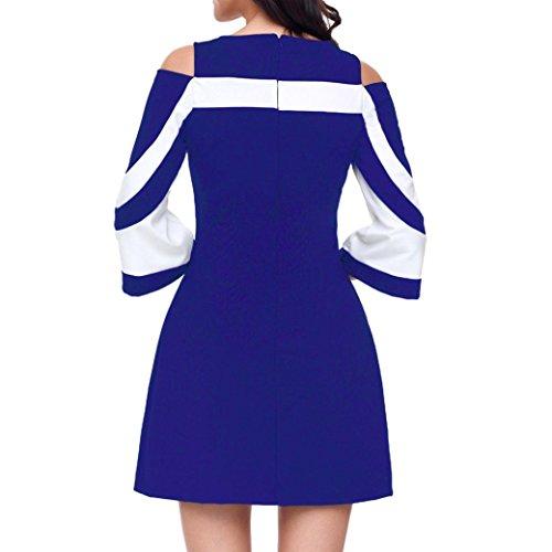 para Vestidos Contraste Manga Oficina Vestidos Azul La Verano De Color frío De 3 Elegante Lenfesh Hombro 4 De Rayas EqSna