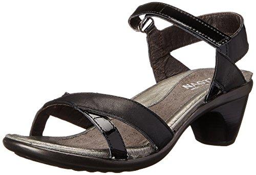 Naot Women's Cheer Wedge Sandal, Jet Black Leather/Black Patent Leather, 38 EU/6.5-7 M US Patent Leather Cork Wedge Sandal