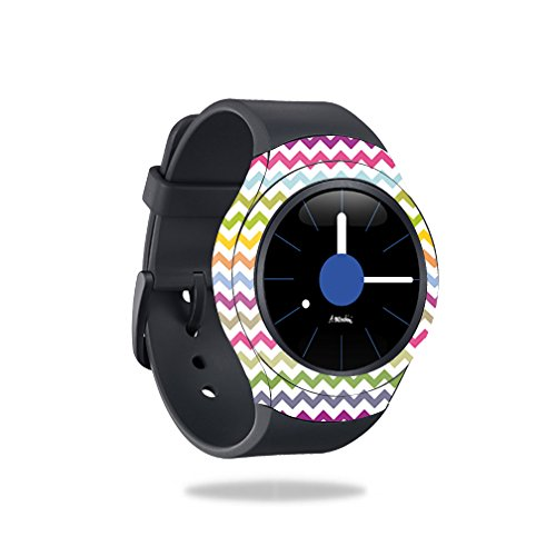 MightySkins Skin Compatible with Samsung Gear S2 Smart Watch Cover wrap Sticker Skins Rainbow Chevron by MightySkins