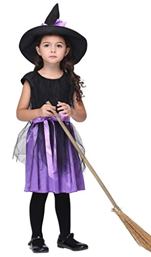 [Woo2u Girls Kids Stage Costume Dancewear Halloween Cosplay Fairy Dress Black S] (Middle Eastern Girl Costume)