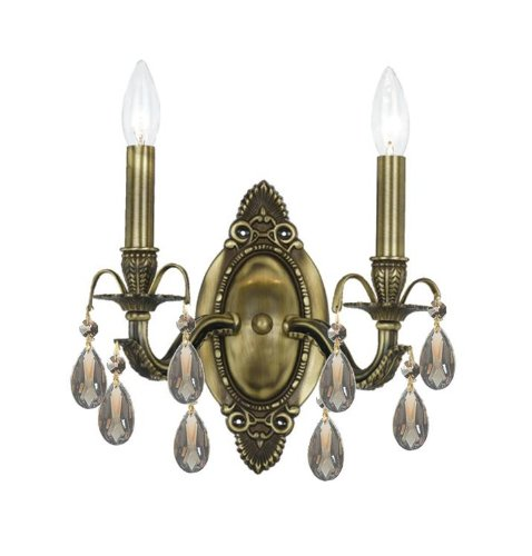 5562-AB-GT-MWP Dawson 2LT Wall Sconce, Antique Brass Finish with Golden Teak Hand Cut ()