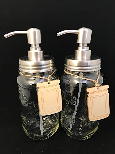 Set of 2 Glass Dispensers for Soap or Lotion with Wooden Tags Reclaimed Bottle Mason Jars