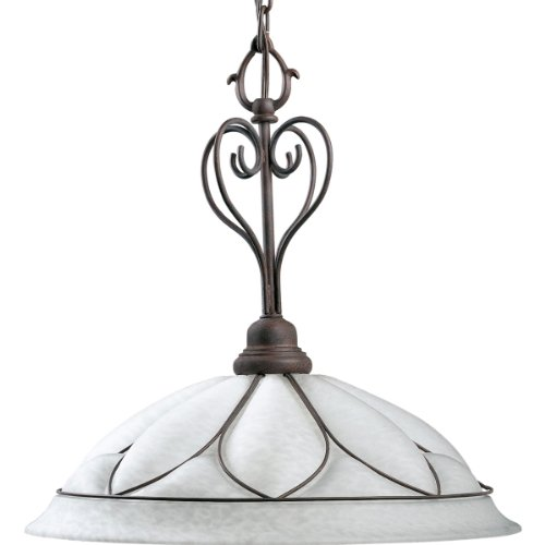 Progress Lighting P5047-33 1-Light Etched Alabaster Style Glass Pendant, Cobblestone