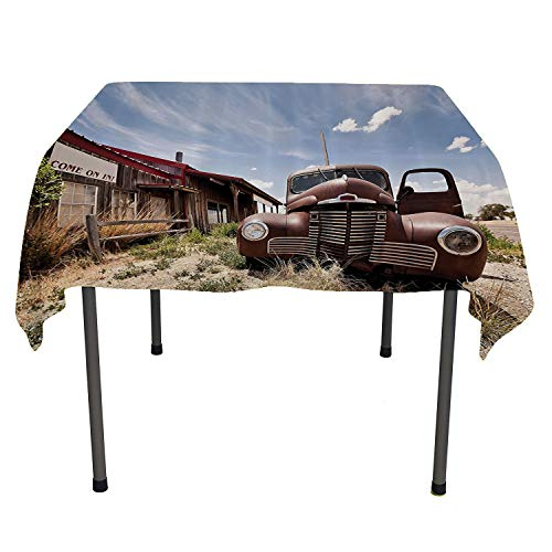 (Americana Decor Collection, Waterproof Table CoverAbandoned Restaurant on Route 66 with Come on in Sign Desert Road Rusty Old Car Picture, Home Decoration Outdoor, 50x50 Inch Brown Blue)