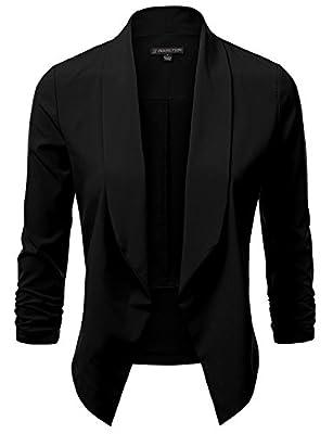 JJ Perfection Women's Lightweight Thin Chiffon Ruched Sleeve Open-Front Blazer