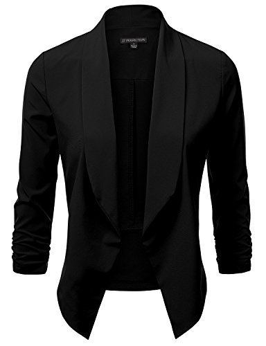 JJ Perfection Women's Lightweight Chiffon Ruched Sleeve Open-Front Blazer Black M