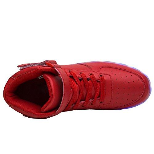 Xi Wei Hu Unisex Usb Opladen Hoge Tonen Led Oplichten Schoenen Rood