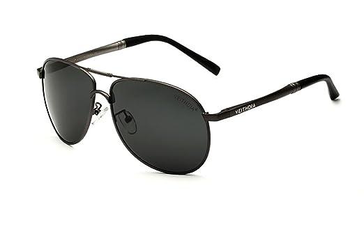 VEITHDIA Sonnenbrille Herren Retro Polarisierte Sonnenbrille Metallrahmen Brille Al-Mg Metallrahme Ultra leicht 6690 (Grau) 1pfn2bWub
