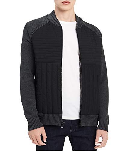 Calvin Klein Men's Zip-Front Sweater-Jacket (Invest Heather Combo, L)