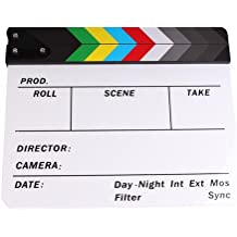 """PMLAND Professional Studio Camera Photography Video Acrylic Clapboard Dry Erase Director Film Movie Clapper Board Slate with Color Sticks 10x12"""" (White)"""