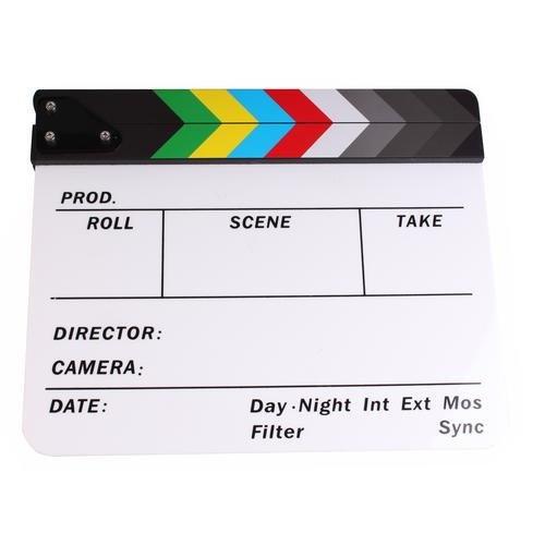 (PMLAND Professional Studio Camera Photography Video Acrylic Clapboard Dry Erase Director Film Movie Clapper Board Slate with Color Sticks 10x12 (White))
