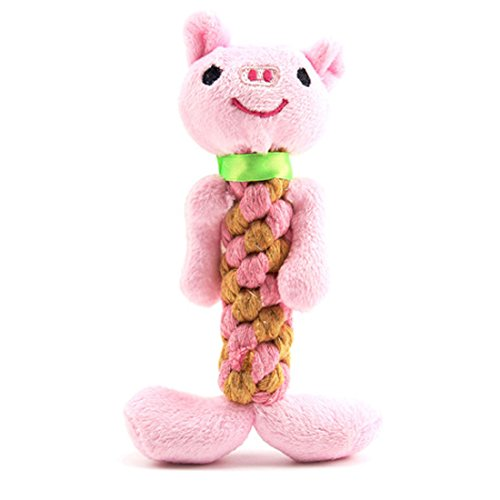 Plush Squeaky Dog Toys, Durable Soft Interactive Dog Chew Toys with Rope Resistant to chew for Teeth Cleaning and Playing (Pig)