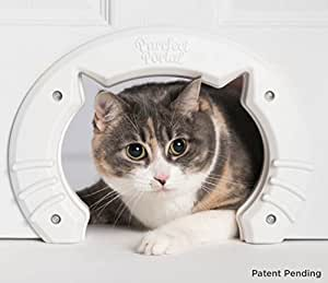 Built in Pet Door for Medium and Large Cats | Fits Interior Hollow Core or Solid Wood Doors | Template, Self Drilling Screws, Instructions Included | 8x6.5 Inches from Purrfect Portal