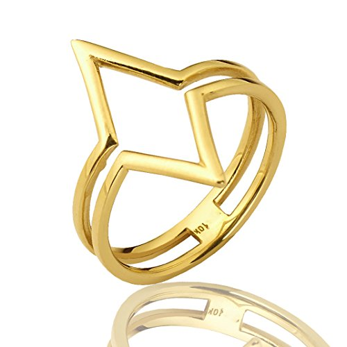 Mr. Bling 10K Yellow Gold Diamond Shaped Geometric Design Ring, Available in Sizes 5-9 (5)