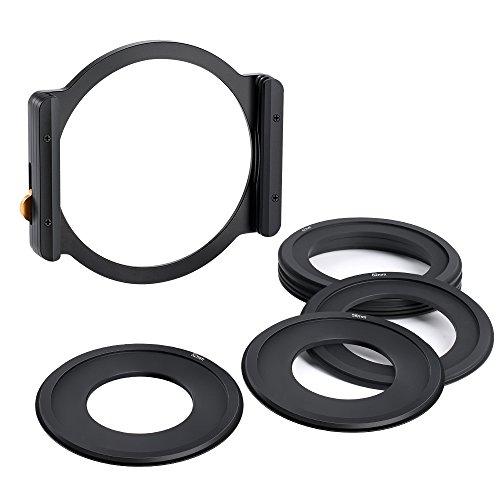 K&F Concept Portafiltrode Metal para Filtro Cuadrado Soporte de Filtro con 7 Anillos Adaptadores