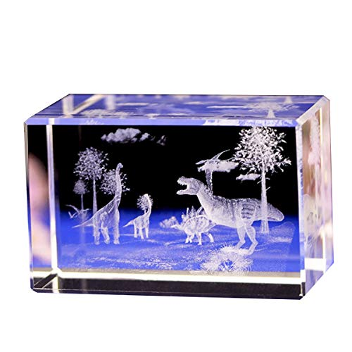 (Jaswass 3D Laser Etched Crystal Sculpture Dinosaur Statue 2x2x3.14 Inch with Gift Box for Home Decoration Holiday Party Office Decoration Craft Gift Children Gift)