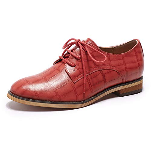 Mona flying Womens Leather Oxfords Lace-up Derby Saddle Shoes for Womens Girls Ladies Date Red