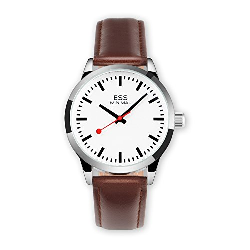 ESS Minimal Mechanical Movement Watch Silver Brown Leather Luxury Leather Mens by OLSUS
