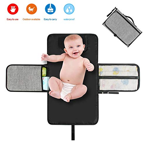 Portable Changing Mat Baby Waterproof Diapers Changing Pad Kit with Pockets Lightweight Travel Home Changing Diaper Pad Bag with Head Cushion for Toddlers Infants and Newborns - Baby Shower Gift by Warmom