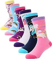 Girls Fashion Cotton Crew Cute Unicorn Shorty Socks 6 Pack