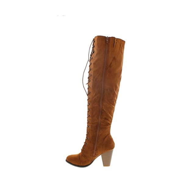 Forever Women's Chunky Heel Lace up Over-The-Knee High Riding Boots 4