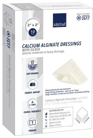 Abena Calcium Alginate Dressing with Silver 2 X 2 Inch Square Sterile Pack of 10