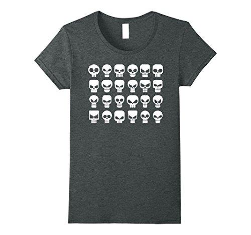 Womens Skeleton SKULLS T-Shirt Be Fierce 24 icons shirt Medium Dark Heather