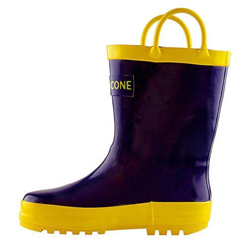 Lone Cone Children's Waterproof Rubber Rain Boots in Solid Colors with Easy-On Handles Simple For Kids, Blue with Yellow Trim, 7 M US (Cute 11 Year Old Guys)