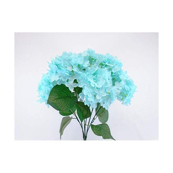 Hydrangea Bush 7 Artificial Silk Flowers 19″ Bouquet 3038 Aqua Blue