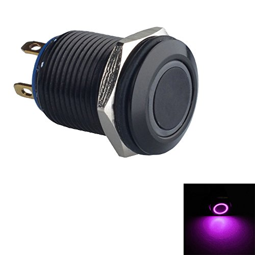 ESUPPORT Black Case 12mm Purple LED Light 2A Momentary Push Button Switch Stainless Waterproof Car Boat